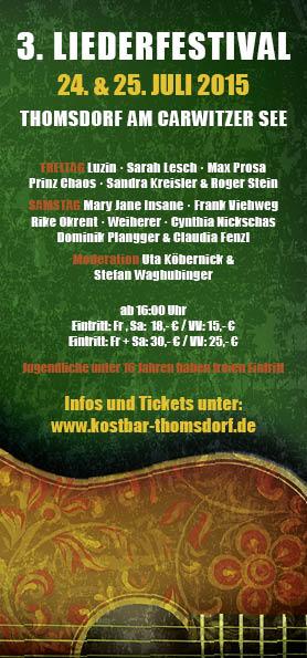 Flyer zum Liederfestival Thomsdorf 2015